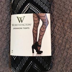 New W Worthington openwork tight. Black size 1X XG